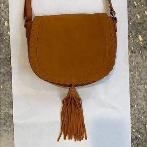 INC Suede Trim Faux Leather Saddle Crossbody Bag